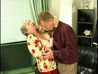 corpulent golden-haired granny uses her biggest
