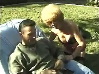 excited aged granny fucking outdoors