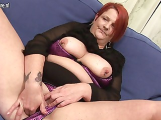 anal play with banana with chubby older mom