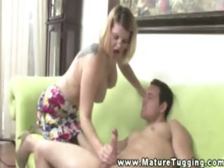 mature golden-haired mother i gives cook jerking