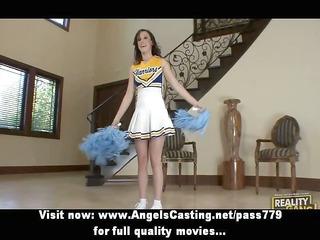brunette cheerleader flashing panties and doing