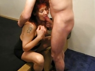 mature redhead dilettante wife sucks and fucks