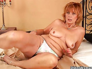 plump granny with unshaved pussy sucks cock
