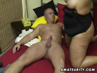 obese amateur wife sucks and copulates at home