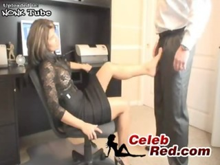 hot milf secretary humiliate her young colleague