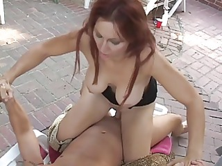redhead chick group-fucked outdoors