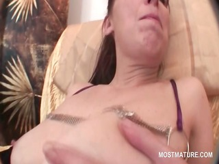 older in nylons widening her shaggy love tunnel