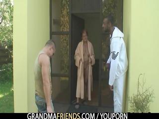 interracial trio orgy with granny