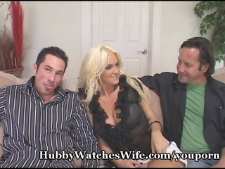 cougar wife fucks youthful fellow as hubby watches