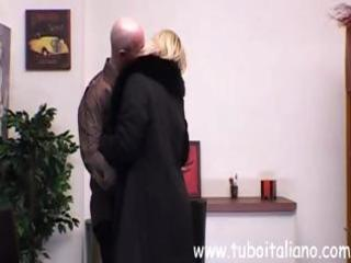 mature italian busty blond eats his dick and then