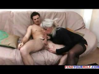 aged blonde russian elena blows his dong and then