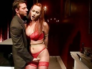 breasty redheaded milf receives bondaged and