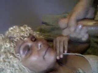 Huge facial on mature ebony